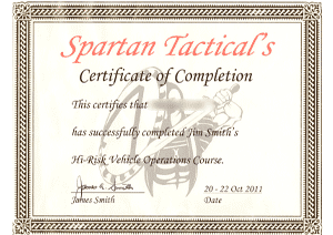 Spartan Tactical - High-Risk Vehicle Operations