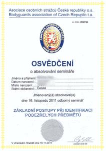 Asociace osobních strážců ČR - Identifikace podezřelých předmětů